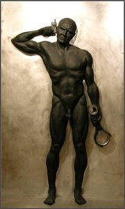 TOM MALEY THESEUS LIFE SIZE RELIEF BRONZE AND STEEL IN AN EDITION OF 10